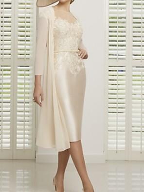 cheap Prom Dresses-Sheath / Column Mother of the Bride Dress Elegant Illusion Neck Tea Length Lace Satin Short Sleeve with Appliques 2020