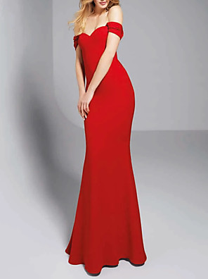 cheap Evening Dresses-Mermaid / Trumpet Sexy Red Engagement Formal Evening Dress Off Shoulder Sleeveless Sweep / Brush Train Polyester with Sleek 2020