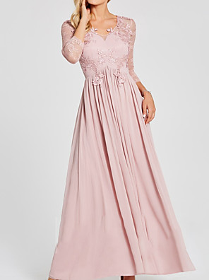 cheap Mother of the Bride Dresses-A-Line Mother of the Bride Dress Elegant Jewel Neck Floor Length Chiffon Lace 3/4 Length Sleeve with Pleats Appliques 2020