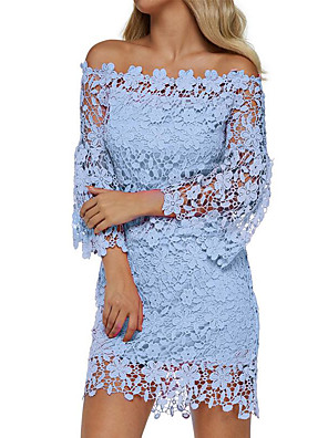 cheap Romantic Lace Dresses-Women's Sheath Dress Short Mini Dress - Long Sleeve Solid Color Lace Off Shoulder Hollow Off Shoulder Floral Holiday 2020 Wine White Black Blushing Pink Green Navy Blue Light Blue S M L XL XXL