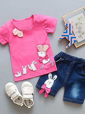 povoljno Kompletići za bebe-Dijete Djevojčice Osnovni Crvena Print Jednobojni Kratkih rukava Duga Dug Komplet odjeće Fuksija