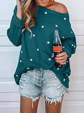 Недорогие Женские футболки-Жен. Блуза Горошек С принтом Длинный рукав Верхушки На одно плечо Черный Красный Зеленый