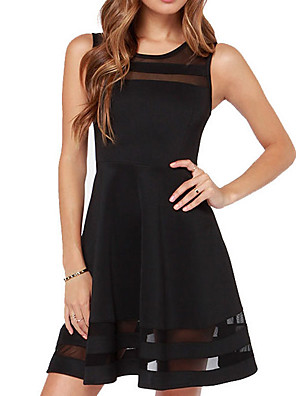 cheap Romantic Lace Dresses-Women's A-Line Dress Short Mini Dress - Sleeveless Solid Color White Black XS S M L XL XXL