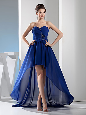 cheap Prom Dresses-A-Line Elegant Blue Wedding Guest Formal Evening Dress Sweetheart Neckline Sleeveless Asymmetrical Chiffon with Ruched Crystals 2020