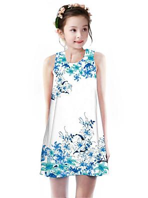cheap Girls' Dresses-Kids Girls' Basic Cute Sun Flower Plants Floral Print Sleeveless Knee-length Dress White
