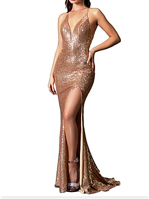cheap Evening Dresses-Mermaid / Trumpet Sparkle Gold Wedding Guest Prom Dress Spaghetti Strap Sleeveless Sweep / Brush Train Sequined with Sequin Split 2020