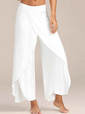 cheap Women's Pants-Women's Sporty Loose Wide Leg Pants - Solid Colored Wine White Black S / M / L