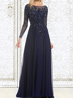 cheap Evening Dresses-A-Line Mother of the Bride Dress Elegant Illusion Neck Floor Length Chiffon Lace Long Sleeve with Lace Appliques 2020