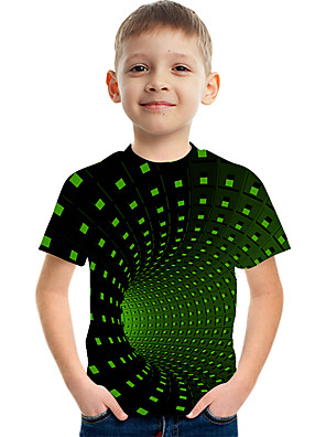 cheap Boys' Tops-Kids Boys' Basic Street chic Color Block 3D Rainbow Print Short Sleeve Tee Green
