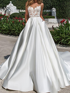 cheap Wedding Dresses-A-Line Wedding Dresses V Neck Court Train Lace Chiffon Over Satin Sleeveless Country Plus Size with Lace Embroidery 2020