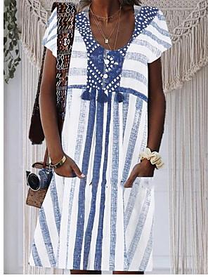 cheap Summer Dresses-Women's Plus Size Knee Length Dress - Short Sleeves Print Summer Casual Holiday Vacation Blue Light Green M L XL XXL XXXL XXXXL XXXXXL