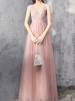cheap Evening Dresses-A-Line Sparkle Pink Engagement Prom Dress V Neck Sleeveless Floor Length Polyester with Pleats Sequin 2020