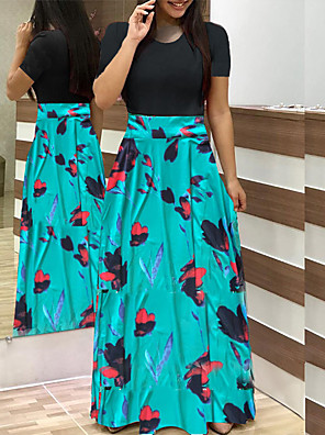 cheap Maxi Dresses-Women's Maxi Swing Dress - Short Sleeve Floral Print Patchwork Print Casual Going out White Black Blushing Pink Green Light Green Rainbow S M L XL XXL XXXL