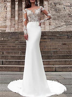 cheap Wedding Dresses-Mermaid / Trumpet Wedding Dresses Off Shoulder V Neck Sweep / Brush Train Stretch Satin Long Sleeve Country Plus Size with Lace Buttons Embroidery 2020