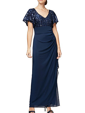 cheap Evening Dresses-Sheath / Column Mother of the Bride Dress Elegant V Neck Floor Length Chiffon Lace Short Sleeve with Pleats Sequin Appliques 2020