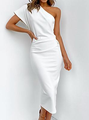 cheap Bridesmaid Dresses-Sheath / Column One Shoulder Floor Length Satin Bridesmaid Dress with Bow(s) / Ruching