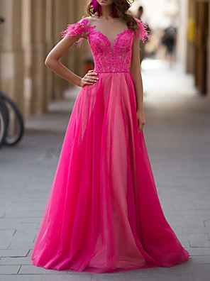 cheap Prom Dresses-A-Line Luxurious Pink Engagement Prom Dress Illusion Neck Short Sleeve Floor Length Lace Tulle with Tassel 2020