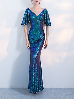 cheap Evening Dresses-Mermaid / Trumpet Sparkle Blue Prom Formal Evening Dress V Neck Half Sleeve Floor Length Polyester with Sequin 2020