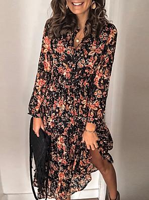 cheap Plus Size Dresses-Women's A-Line Dress Midi Dress - Long Sleeve Floral Black S M L XL XXL