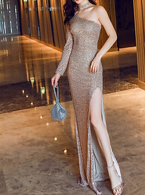 cheap Prom Dresses-Sheath / Column Sparkle Party Wear Prom Dress One Shoulder Long Sleeve Floor Length Polyester with Sequin Split 2020