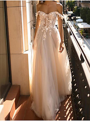 cheap Wedding Dresses-A-Line Wedding Dresses Off Shoulder Floor Length Tulle Polyester Sleeveless Country Plus Size with Embroidery Appliques 2020