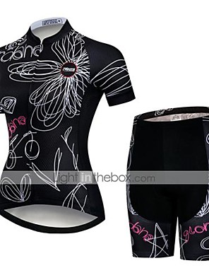 cheap Evening Dresses-21Grams Women's Short Sleeve Cycling Jersey with Shorts Polyester Spandex Black / White Floral Botanical Bike Clothing Suit Breathable Quick Dry Ultraviolet Resistant Sweat-wicking Sports Floral