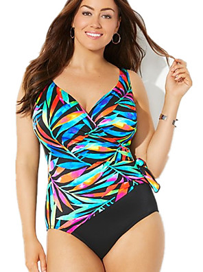 cheap Plus Size Swimwear-Women's Plus Size One-piece Swimwear Swimsuit Bathing Suits - Color Block Blue XL XXL XXXL