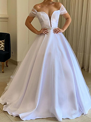 cheap Wedding Dresses-A-Line Wedding Dresses Off Shoulder Sweep / Brush Train Tulle Polyester Short Sleeve Country Plus Size with Crystal Brooch 2020