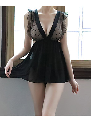 cheap Suits-Women's Lace / Backless / Cut Out Robes / Suits Nightwear Jacquard / Solid Colored Black One-Size