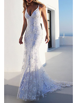 cheap Wedding Dresses-Mermaid / Trumpet Wedding Dresses V Neck Sweep / Brush Train Lace Spaghetti Strap Casual Backless with Appliques 2020