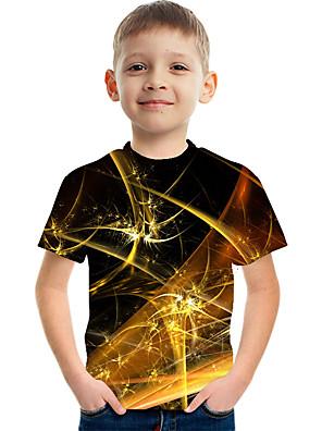 cheap Boys' Tops-Kids Boys' Active Street chic Color Block 3D Print Short Sleeve Tee Gold