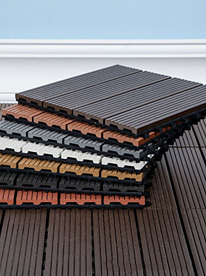 cheap Hand Tools-Outdoor Plastic Wood Splicing Floor Patio and Deck Tiles – Interlocking Slat Pattern Outdoor Floor Pavers Weather Resistant and Anti-Slip Square DIY Mat 1PC 30*30cm