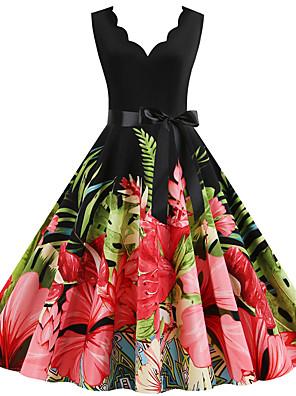 cheap Party Dresses-Women's A Line Dress - Sleeveless Print Patchwork Print Deep V Street chic Party Daily Black S M L XL XXL / Cotton