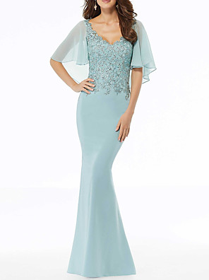 cheap Prom Dresses-Mermaid / Trumpet Mother of the Bride Dress Sexy Scalloped Neckline Sweep / Brush Train Chiffon Half Sleeve with Beading Appliques 2020