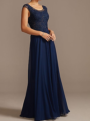 cheap Evening Dresses-A-Line Mother of the Bride Dress Elegant Jewel Neck Floor Length Chiffon Lace Sleeveless with Lace Pleats Appliques 2020