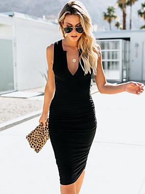 cheap Romantic Lace Dresses-Women's Bodycon Dress - Sleeveless Solid Color V Neck Black Gray S M L XL