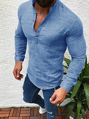cheap Bridesmaid Dresses-Men's Plus Size Solid Colored Shirt - Linen Daily Wear Round Neck White / Black / Gray / Light Blue / Long Sleeve