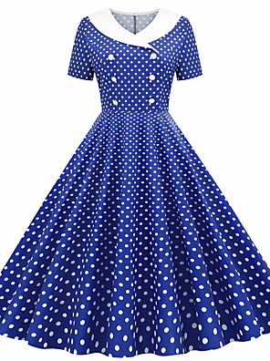 cheap Casual Dresses-Women's Swing Dress - Short Sleeves Polka Dot Patchwork Print Shirt Collar Active Cute Party Daily Belt Not Included Red Blushing Pink Royal Blue Light Blue S M L XL XXL / Cotton