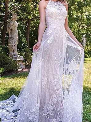 cheap Prom Dresses-A-Line Wedding Dresses Jewel Neck Sweep / Brush Train Lace Tulle Sleeveless Country Plus Size with Lace Embroidery 2020