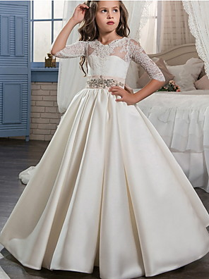 cheap Junior Bridesmaid Dresses-Ball Gown Floor Length Event / Party / Formal Evening Flower Girl Dresses - Polyester 3/4 Length Sleeve Scoop Neck with Lace / Bow(s)