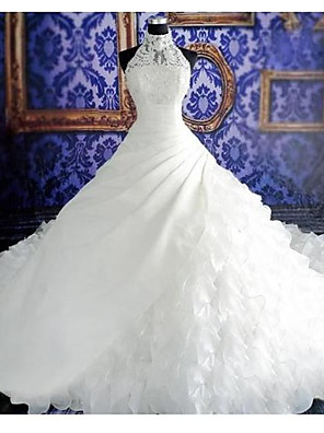 cheap Wedding Slips-Ball Gown Wedding Dresses Halter Neck Court Train Organza Sleeveless Sexy Wedding Dress in Color with Appliques 2020