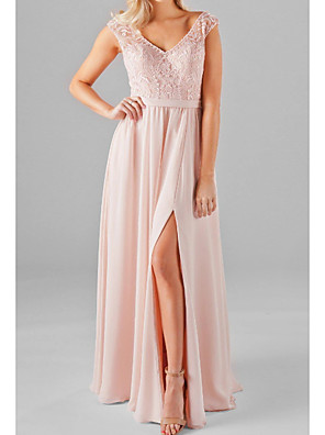 cheap Evening Dresses-A-Line V Neck Floor Length Chiffon / Lace / Shantung Bridesmaid Dress with Split Front / Ruching