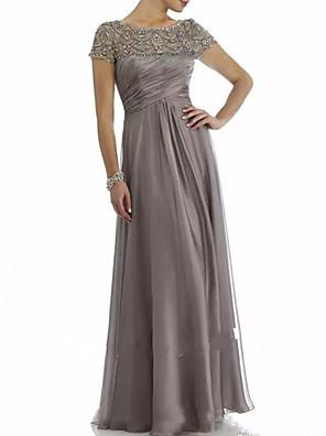 levne Šaty pro matku nevěsty-A-Linie Šaty pro matku nevěsty Elegantní Bateau Neck Na zem Šifón Krátký rukáv s Sklady Korálky Volány 2020