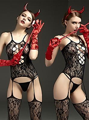 cheap Socks & Hosiery-Women's Uniforms Adults' Babydoll & Slips Sexy Cosplay Costume Solid Color Leotard / Onesie