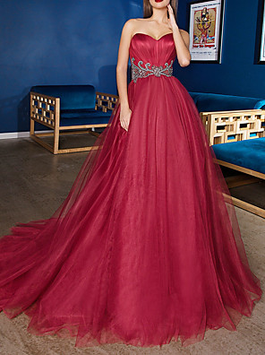 cheap Evening Dresses-Ball Gown Minimalist Red Engagement Formal Evening Dress Sweetheart Neckline Sleeveless Sweep / Brush Train Satin Tulle with Sash / Ribbon 2020