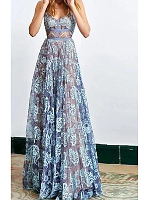 cheap Evening Dresses-A-Line Floral Blue Holiday Prom Dress Spaghetti Strap Sleeveless Floor Length Lace with Lace Insert 2020