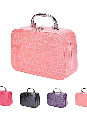 cheap Evening Dresses-Makeup Box Crocodile Texture PU Leather Portable Travel Bag With Handle