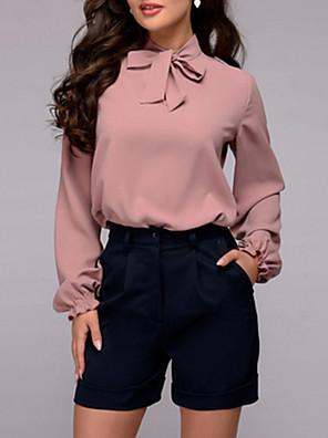 cheap Women's Blouses & Shirts-Women's Blouse Solid Colored Tops Chiffon Chic & Modern Purple Dark Purple Blushing Pink