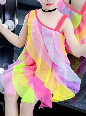 cheap Girls' Dresses-Kids Girls' Cute Street chic Patchwork Mesh Patchwork Sleeveless Knee-length Dress Rainbow