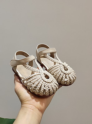 cheap Romantic Lace Dresses-Girls' Comfort PVC Sandals Toddler(9m-4ys) Black / Brown / Beige Spring